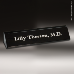 Desk Gift Engraved Black Piano Finish Name Plate Desk Wedge Corporate Trophy Awards