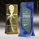 Artistic Gold & Blue Rallye Fusion Trophy Award Corporate Trophy Awards
