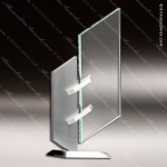 Glass Silver Accented Rectangle Stanchion Trophy Award Corporate Trophy Awards