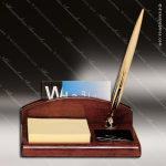 Engraved Rosewood Business Card Holder Post-It Pen Desk Organizer Desk Gif Corporate Trophy Awards