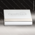Engraved  Metal Business Card Holder Silver Matte Hard Case Desk Gift Corporate Trophy Awards