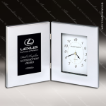 Engraved Silver Finish Desk Clock Polished Aluminum Gift Award Corporate Trophy Awards