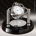 Engraved Black Finish Desk Clock Silver Accented Gyroscope Gift Award Corporate Trophy Awards