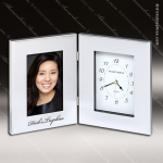 Engraved Silver Finish Desk Clock Polished Aluminum Photo Frame Gift Award Corporate Trophy Awards