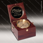 Engraved Mahogany Desk Clock Gold Accented Hinged Captains Trophy Award Corporate Trophy Awards