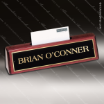 Desk Gift Engraved  Rosewood Name Plate Desk Wedge Business Card Holder Corporate Trophy Awards