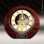 Engraved Rosewood Desk Clock Gold Accented Michelangelo Skeleton Clock Awar Corporate Trophy Awards