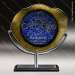 Vive Achievement Artistic Blue Gold Art Glass Trophy Award Corporate Trophy Awards