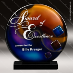 Viyella Sphere Artistic Orange Blue Art Glass Trophy Award Corporate Trophy Awards