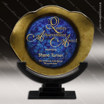 Vondel Triumph Artistic Blue Gold Art Glass Trophy Award Corporate Trophy Awards