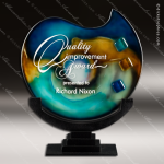 Visalia Blues Artistic Blue Green Art Glass Trophy Award Corporate Trophy Awards