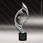 Cast Chrome Finished Art Disc Flame Sculpture Marble Base Trophy Award Corporate Trophy Awards