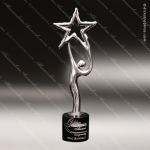 Cast Chrome Finished Holding Star Sculpture Marble Base Trophy Award Corporate Trophy Awards