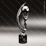 Cast Chrome Finished Holding Sphere Sculpture Marble Base Trophy Award Corporate Trophy Awards