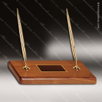 American Walnut Desk Set with Two Pens Corporate Trophy Awards