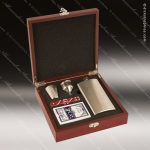Engraved Flask Stainless Steel  Rosewood 5 Piece Boxed Brush Silver Gift Se Corporate Trophy Awards