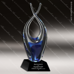 Artistic Blue Accented Art Glass Chesterfield Liberty Trophy Award Corporate Trophy Awards