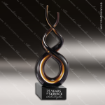 Macbine Spin Artistic Black Accented Art Glass Sculpture Trophy Award Corporate Trophy Awards