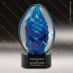 Jesselton Egg Artistic Blue Accented Art Glass Sculpture Egg Trophy Award Corporate Trophy Awards