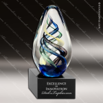 Tahoe Twist Artistic Multi-Colored Blue Art Glass Sculpture Trophy Award Corporate Trophy Awards
