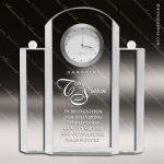 Crystal Clock Silver Tone Trophy Award Corporate Trophy Awards