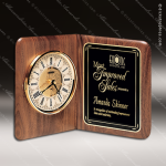 Engraved Walnut Desk Clock Gold Accented Open Book Trophy Award Corporate Trophy Awards