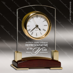 Engraved Rosewood Desk Clock Glass Gold Accented Clock Award Corporate Trophy Awards