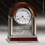 Engraved Rosewood Desk Clock Glass Silver Accented Dome Award Corporate Trophy Awards