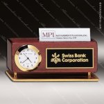 Engraved Rosewood Desk Clock Gold Accented Clock With Business Card Holder Corporate Trophy Awards