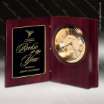 Engraved Mahogany Desk Clock Gold Accented Hinged Book Trophy Award Corporate Trophy Awards