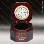 Engraved Rosewood Desk Clock Gold Accented Hinged Captains Clock Award Corporate Trophy Awards