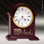Engraved Mahogany Desk Clock Gold Accented Napoleon Mantle Trophy Award Corporate Trophy Awards