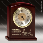 Engraved Rosewood Desk Clock Gold Accented Clock Award Corporate Trophy Awards