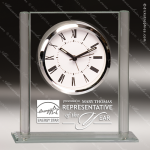 Engraved Jade Glass Desk Clock Silver Accented Rectangle Gift Award Corporate Trophy Awards
