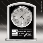 Engraved Black Finish Desk Clock Silver Accented Arched Gift Award Corporate Trophy Awards