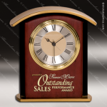Engraved Mahogany Desk Clock Gold Accented Arched Trophy Award Corporate Trophy Awards