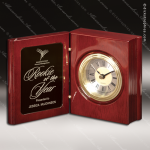 Engraved Rosewood Desk Clock Gold Accented Hinged Book Clock Award Corporate Trophy Awards