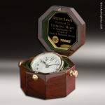 Desk Gift Rosewood Gold Accented Captain's Clock Award Corporate Trophy Awards