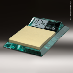 Desk Gift Glass Jade Accented Notepad Post-it Holder Corporate Trophy Awards