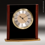 Desk Gift Faux Mahognay Finish Gold Accented Arched Clock Award Corporate Trophy Awards