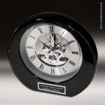 Desk Gift Black Piano Finish Silver Accented Skeleton Clock Award Corporate Trophy Awards