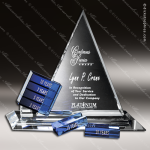 Crystal Blue Accented Triangle Goal-Setter Trophy Award Crystal-D Series Crystal Trophy Awards