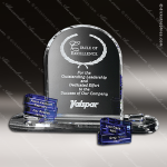 Crystal Blue Accented Wingate Goal-Setter Trophy Award Crystal-D Series Crystal Trophy Awards