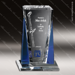 Crystal Blue Accented Sentinel Trophy Award Crystal-D Series Crystal Trophy Awards