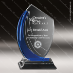 Crystal Blue Accented Shadow Trophy Award Crystal-D Series Crystal Trophy Awards