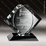 Crystal Black Accented CEO Diamond Trophy Award Crystal-D Series Crystal Trophy Awards