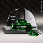 Crystal Green Accented Radcliffe Goal-Setter Trophy Award Crystal-D Series Crystal Trophy Awards