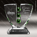 Crystal Green Accented Pinion Trophy Award Crystal-D Series Crystal Trophy Awards