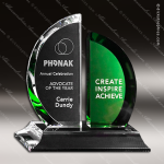 Crystal Green Accented Greenley Trophy Award Crystal-D Series Crystal Trophy Awards