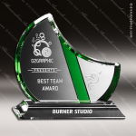 Crystal Green Accented Gretna Crystal Trophy Award Crystal-D Series Crystal Trophy Awards